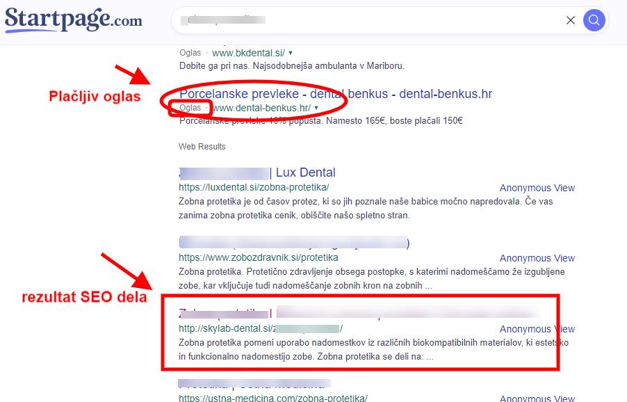 Optimizacija spletnih strani (SEO) - primer uvrstitve na iskalniku